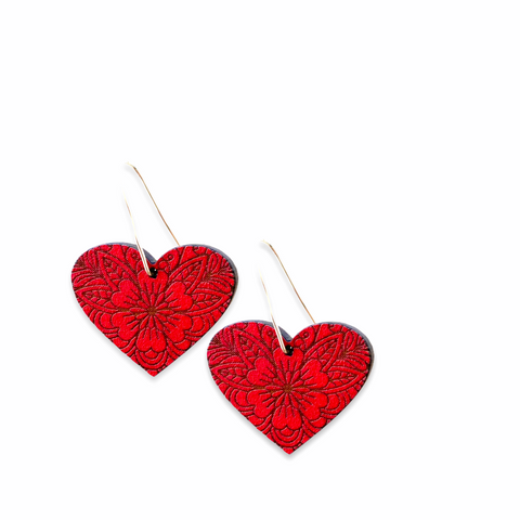 Floral heart Rimu earrings - Julia Huyser Design