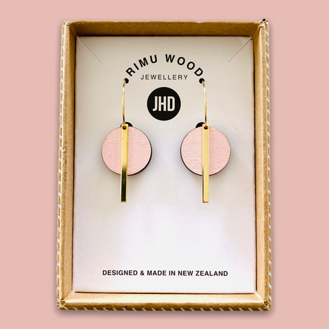 Pink Circle Bar earrings - Julia Huyser Design