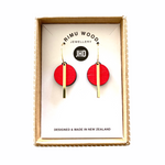 Red Circle Bar earrings - Julia Huyser Design