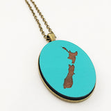 NZ Map Pendant - TEAL