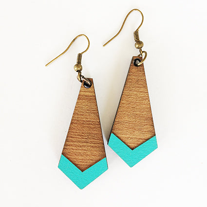 Teal Hanging diamonds Earrings