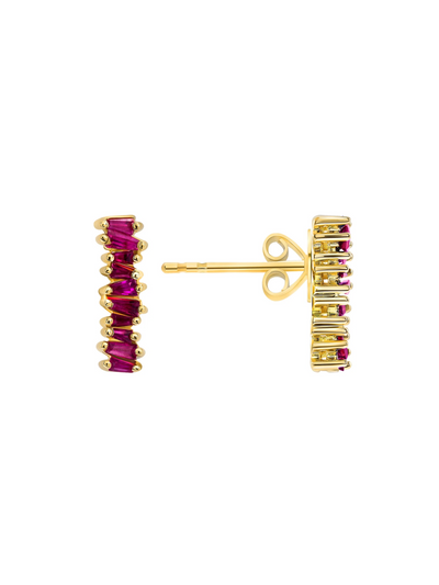 Brilliant Baguette Ruby Earrings 14k Gold