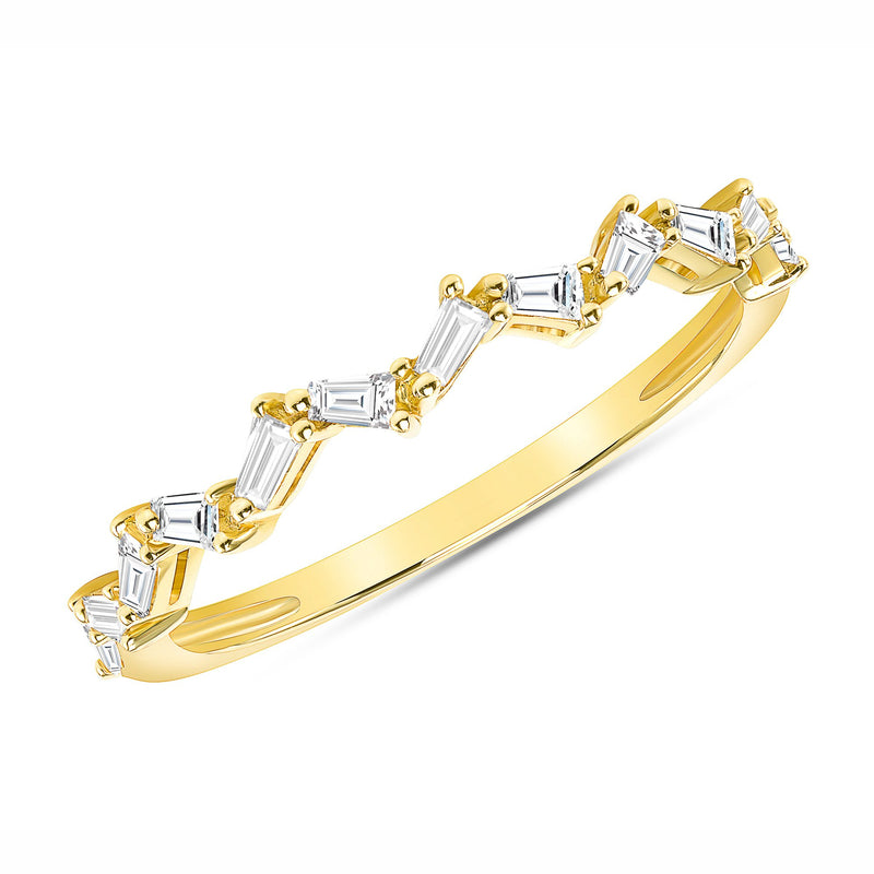 Diamond Zig Zag Baguette Band - 14k Gold