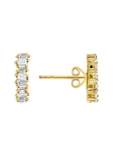 Brilliant Baguette 14k Gold Diamond Earrings