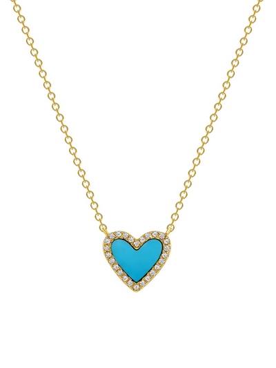 Mini Turquoise and Diamond Heart Necklace in 14k Gold