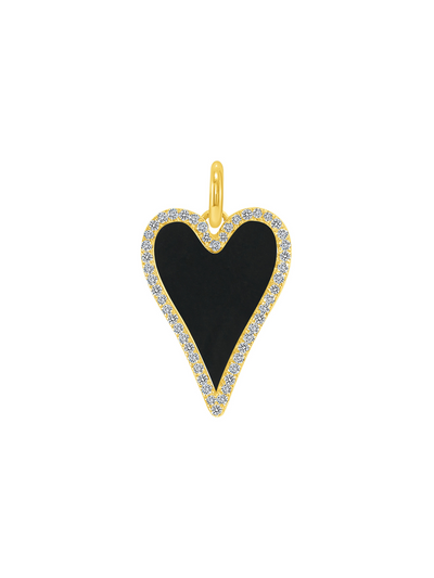 Chloe Black Heart Charm - 14k gold