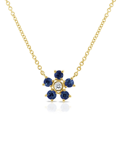 Bloom Necklace Sapphire + Diamond 14k Gold