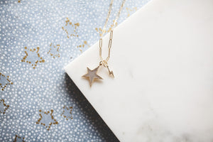 Diamond Star Charm - Mother of Pearl & 14k Gold