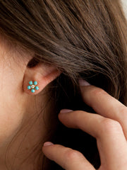Bloom Earrings Turquoise + Diamond 14k Gold