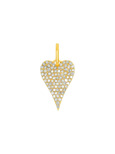Pave Diamond Heart Charm - 14k