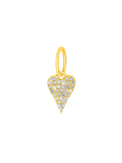 Mini Pave Diamond Heart Charm - 14k