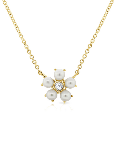 Bloom Necklace Pearl + Diamond 14k Gold