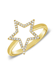 Open Star Diamond Ring 14k gold