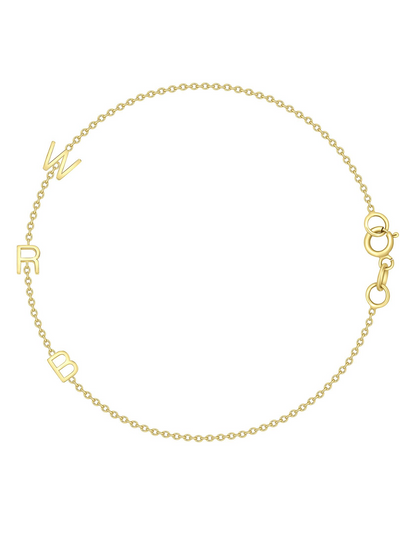 The Initial Bracelet  - 3 Letters 14k Gold