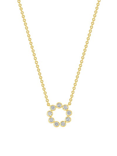 Halo Diamond Necklace 14k