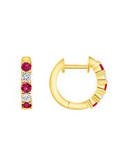 Chunky Diamond & Ruby Huggies 14k Yellow Gold
