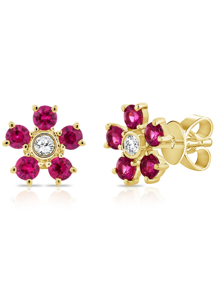 Bloom Ruby + Diamond Earrings 14k