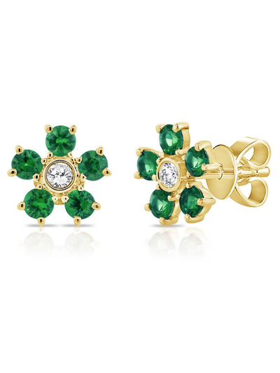 Bloom Emerald + Diamond Earrings 14k