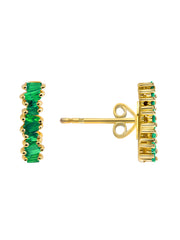 Brilliant Baguette Emerald Earrings 14k Gold