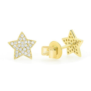 Diamond Star Stud Earrings - 14k Yellow Gold