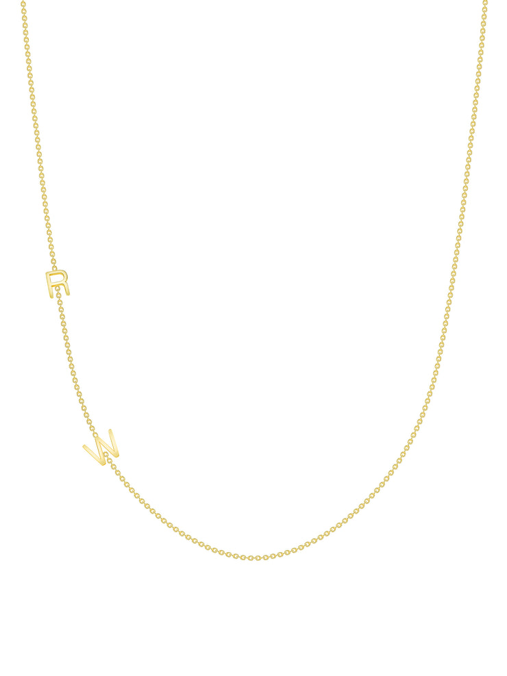 The Initial Necklace - 2 Letters 14k Gold
