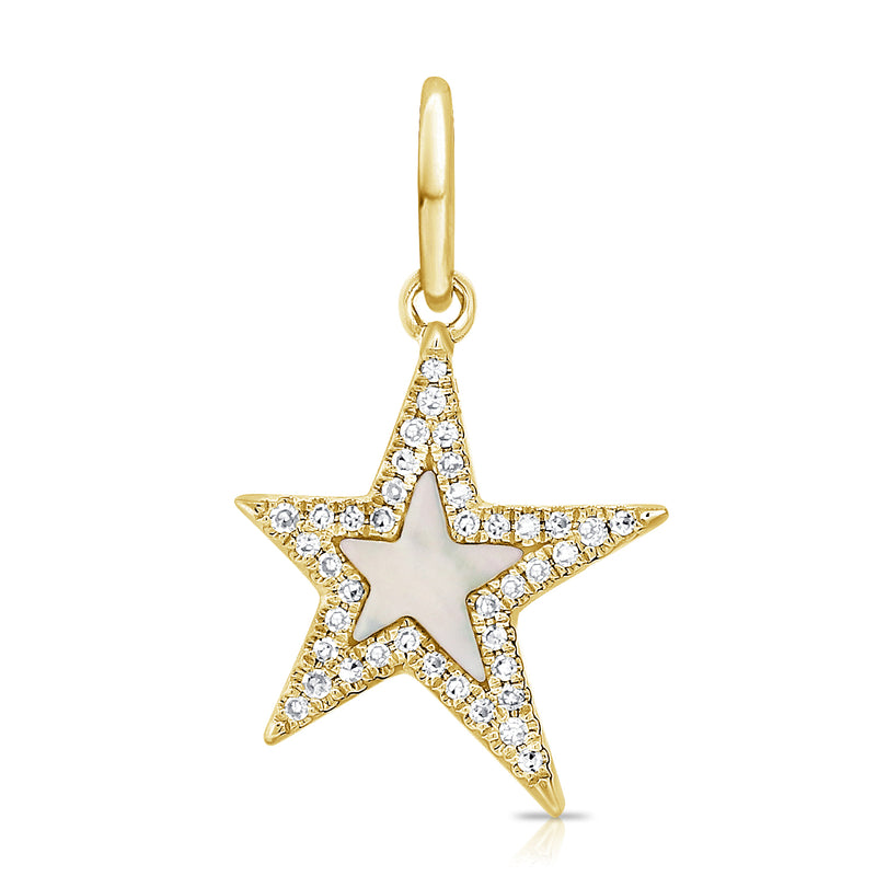 Diamond Star Charm Mini - Mother of Pearl & 14k Gold