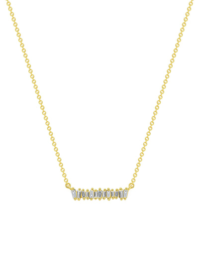 Mini Brilliant Baguette Bar Necklace