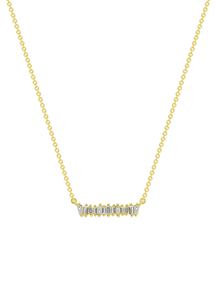 Mini Brilliant Baguette Bar Necklace 14k