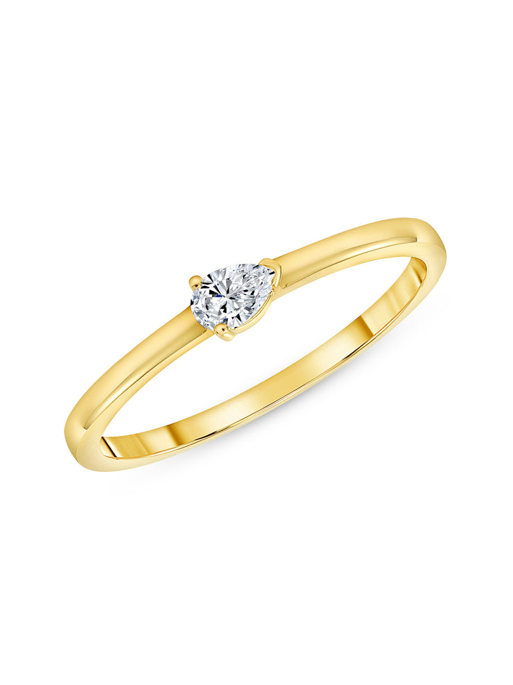 Bitsy Stack Ring with Pear Diamond 14k