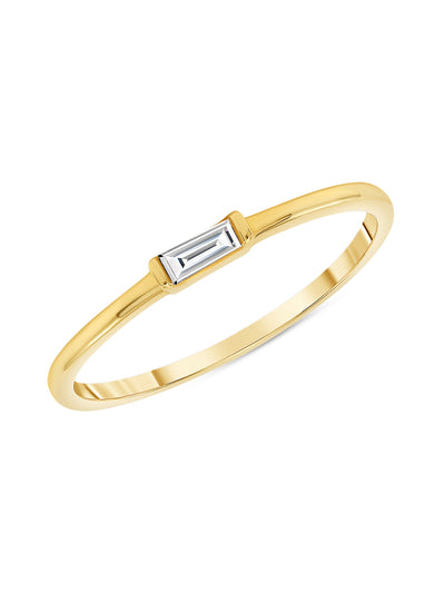 Bitsy Stack Ring with Baguette Diamond 14K