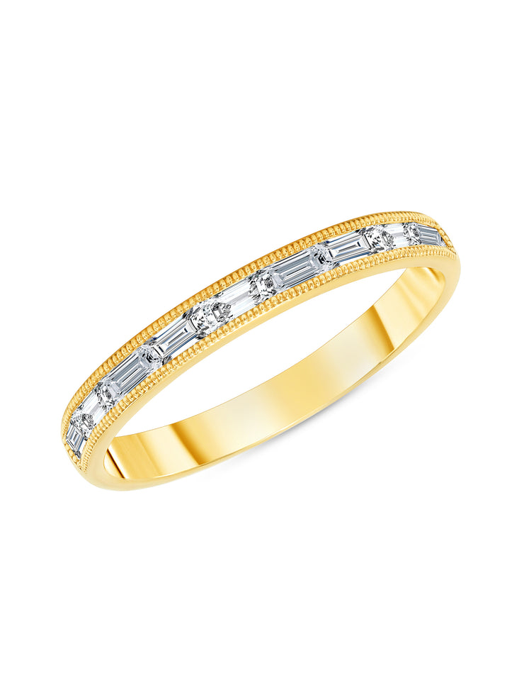 Straight Baguette Diamond Halfway Ring 14K
