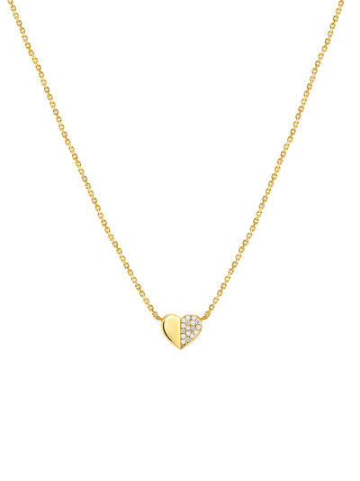 Sis Heart Necklace in 14k Yellow Gold and Diamond