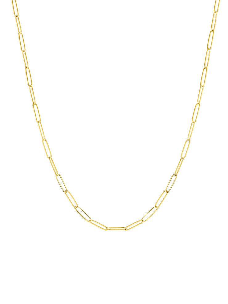 Paperclip Chain Necklace  - 14k Gold