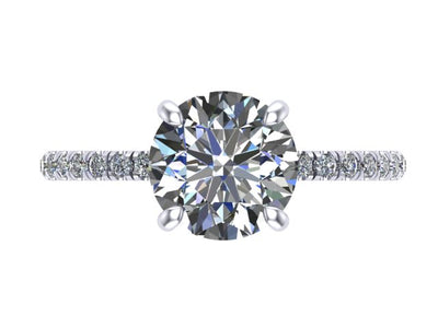Round Four Prong Engagement Ring with Diamond Hidden Halo