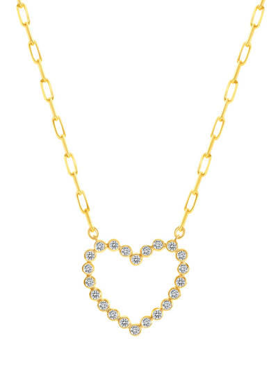 Mary Diamond Bezel Heart Necklace 14k