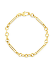 Mixed Link Bracelet - 14k Gold