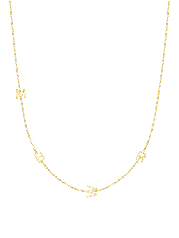 The Initial Necklace - 4 Letters 14k Gold