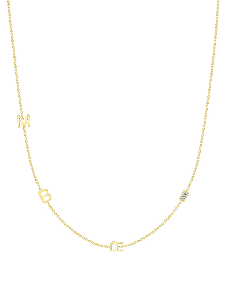 The Initial Necklace - 3 Letters 14k Gold
