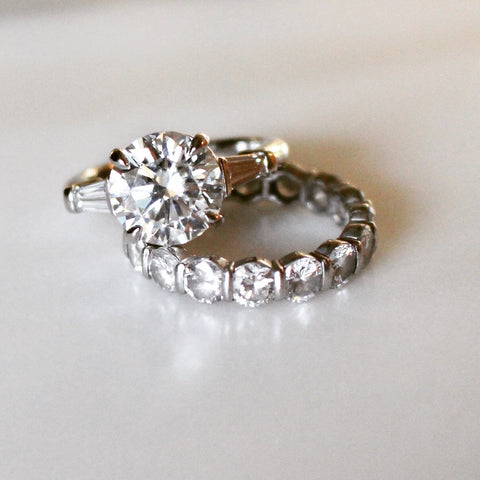 Round Engagement Ring with Tapered Baguette Ring