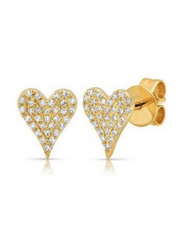Pave Diamond Heart Earrings