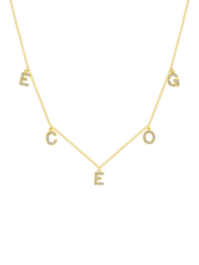 Pave Diamond Initial Dangling Necklace