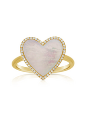 Rose Ring with Mother of Pearl & Diamonds - 14k