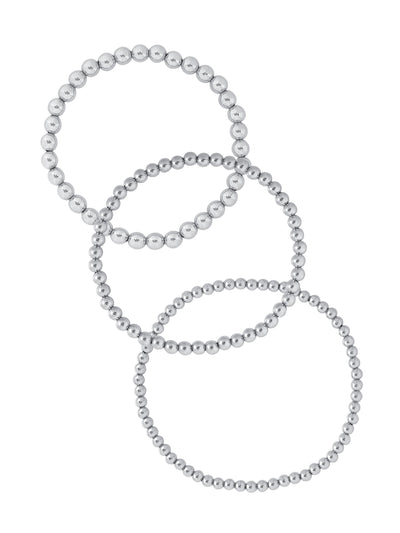 Everyday Stretch Bracelet Set Silver - 3mm + 4mm + 5mm