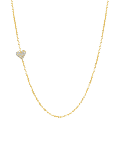 Laura Pave Heart Necklace 14k