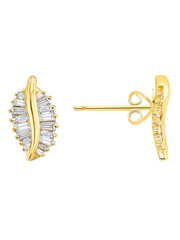 Kauai Diamond Baguette Leaf Stud Earrings