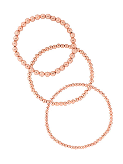 Everyday Stretch Bracelet Set Rose Gold Fill  3mm + 4mm + 5mm