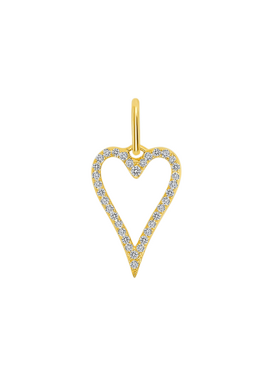 Pave Diamond Open Heart Charm - 14k