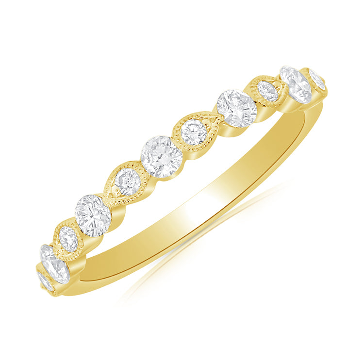 Round & Pear Milgrain Diamond Band - 14K