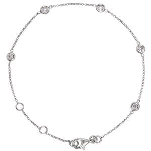 Diamond Bezel Station Bracelet -14k White Gold