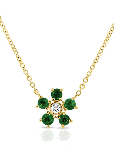 Bloom Necklace Emerald + Diamond 14k Gold